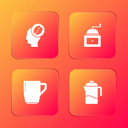 Set Barista, Manual coffee grinder, Coffee cup and French press icon. Vector