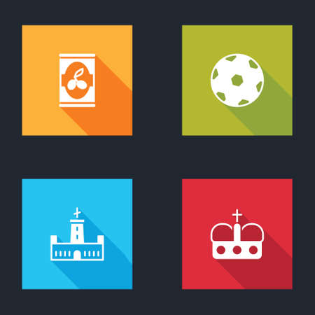 Set Olives in can, Football ball, Montjuic castle and Crown of spain icon. Vector