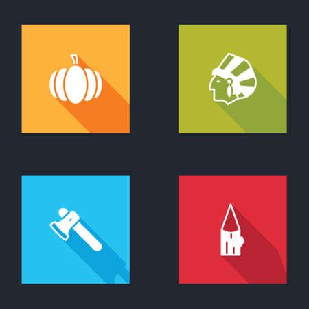 Set Pumpkin, Native American Indian, Wooden axe and log icon. Vector Vectores