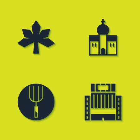 Set Chestnut leaf, Hotel Ukraina building, Garden pitchfork and Church icon. Vector