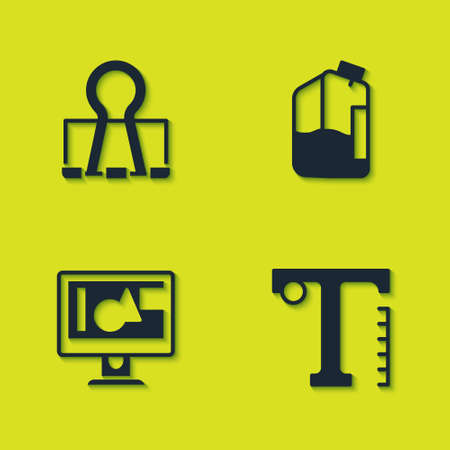 Set Binder clip, Text, Computer monitor screen and Printer ink bottle icon. Vector