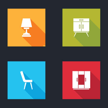 Set Table lamp, Chest of drawers, Armchair and Wardrobe icon. Vector