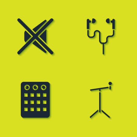 Set Speaker mute, Microphone with stand, Drum machine and Air headphones icon. Vector