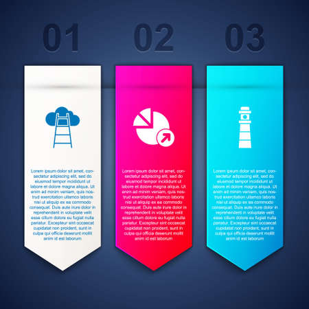 Set Stair with finish flag, Financial growth and Lighthouse. Business infographic template. Vector