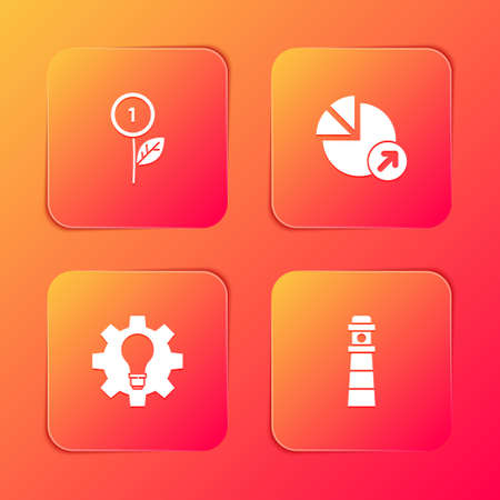 Set Dollar plant, Financial growth, Light bulb and gear and Lighthouse icon. Vector