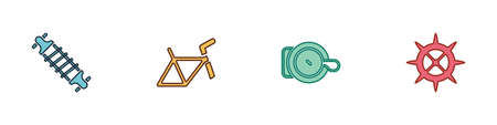 Set Bicycle suspension, frame, bell and sprocket crank icon. Vector