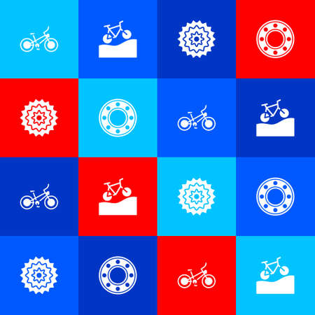 Set Bicycle, Mountain bicycle, cassette and ball bearing icon. Vector