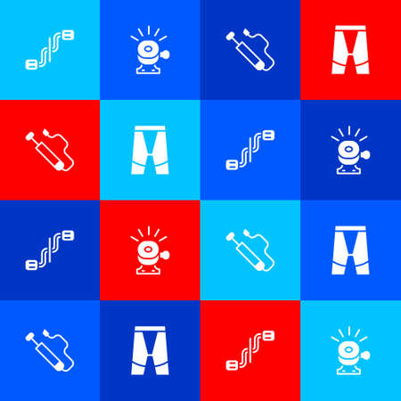 Set Bicycle pedals, bell, air pump and Cycling shorts icon. Vector