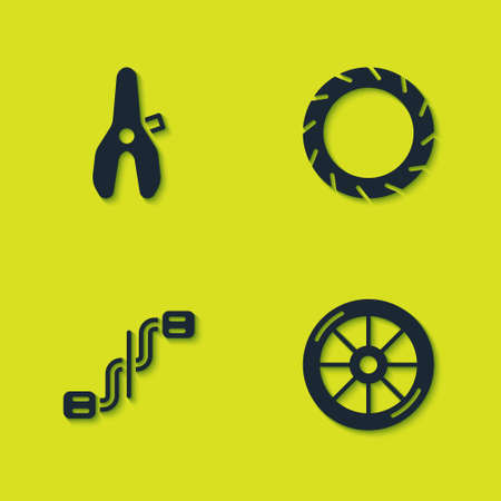 Set Bicycle seat, wheel, pedals and tire icon. Vector