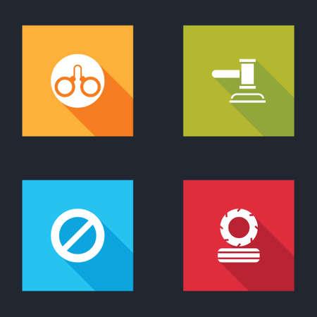 Set Handcuffs, Judge gavel, Ban and Lying burning tires icon. Vector