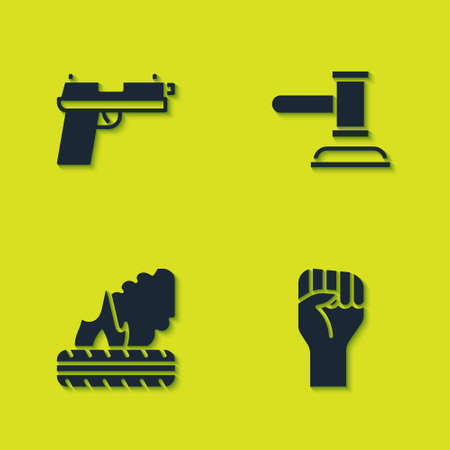Set Pistol or gun, Raised hand with clenched fist, Lying burning tires and Judge gavel icon. Vector 向量圖像