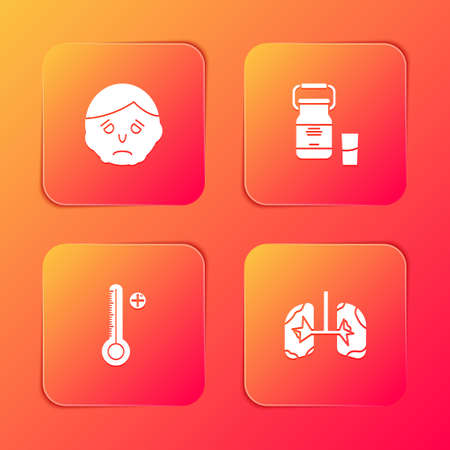 Set Inflammation on face, Can container for milk, Medical digital thermometer and Lungs icon. Vector