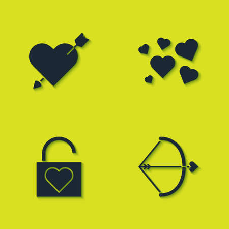 Set Amour with heart and arrow, Bow, Lock and Heart icon. Vector