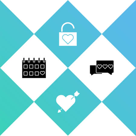 Set Calendar with heart, Amour and arrow, Lock and Like icon. Vector