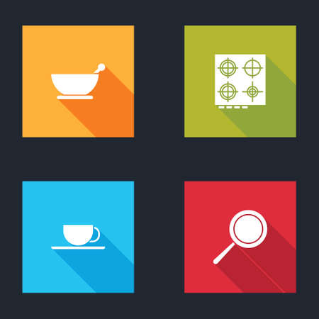 Set Mortar and pestle, Gas stove, Coffee cup and Frying pan icon. Vector