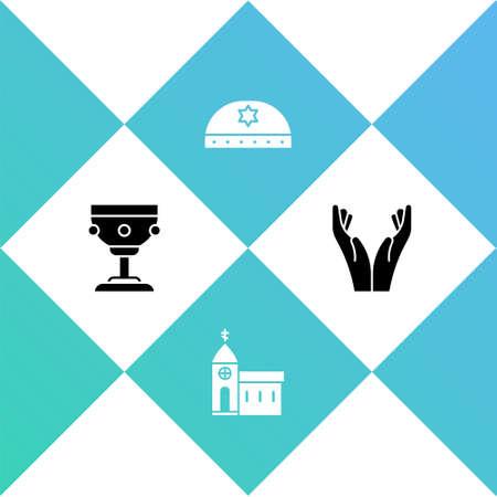 Set Christian chalice, Church building, Jewish kippah with star of david and Hands praying position icon. Vector Çizim