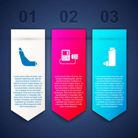 Set Inhaler, Blood pressure and . Business infographic template. Vector