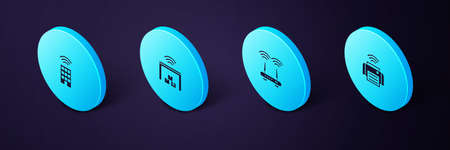 Set Isometric Smart printer, Router and wi-fi signal, warehouse and home with wireless icon. Vector
