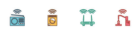 Set Smart radio, washer, Router and wi-fi signal and Robotic robot arm hand factory icon. Vector Ilustração