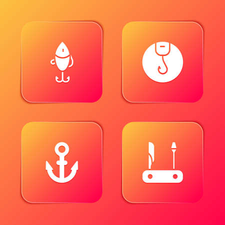 Set Fishing lure, hook, Anchor and Swiss army knife icon. Vector
