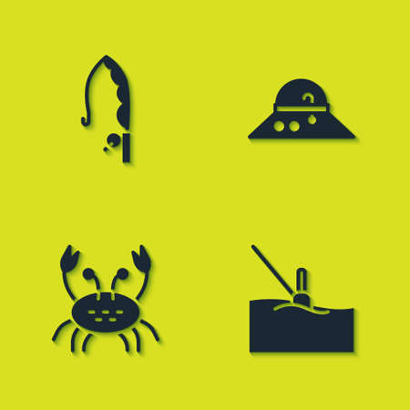 Set Fishing rod, float water, Crab and Fisherman hat icon. Vector