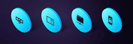 Set Isometric Mobile with closed padlock, FTP folder, Safe and Password protection icon. Vector Ilustração