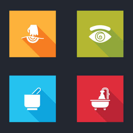Set Massage, Hypnosis, Mortar and pestle and Bathtub icon. Vector