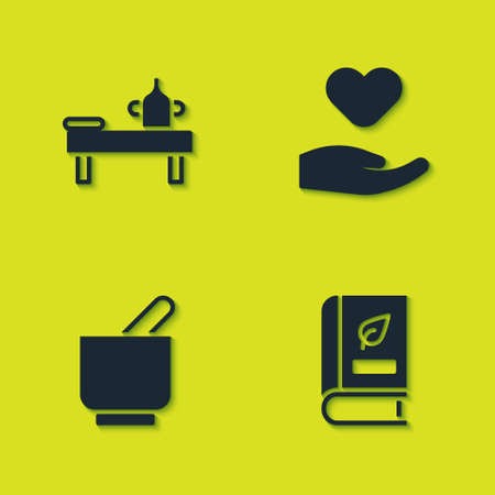 Set Massage table with oil, Medical book, Mortar and pestle and Heart in hand icon. Vector