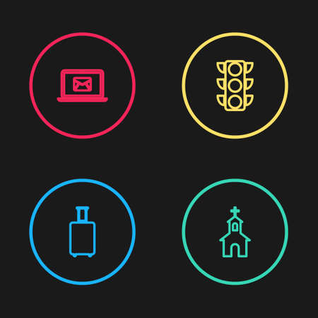 Set line Travel suitcase, Church building, Traffic light and Laptop with envelope icon. Vector
