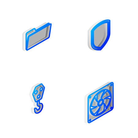Set Isometric line Shield, Folder, Industrial hook and Computer cooler icon. Vector