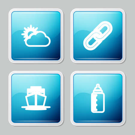 Set line Sun and cloud weather, Chain link, Ship and Baby bottle icon. Vector