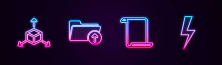 Set line Isometric cube, Download arrow with folder, Paper scroll and Lightning bolt. Glowing neon icon. Vector