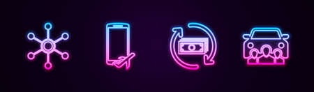 Set line Network, Flight mode in the mobile, Refund money and Car sharing. Glowing neon icon. Vector