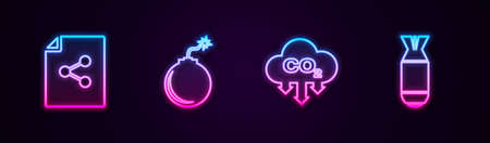 Set line Share file, Bomb ready to explode, CO2 emissions in cloud and Aviation bomb. Glowing neon icon. Vector 向量圖像