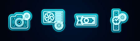 Set line Photo camera setting, Air conditioner, Fast payments and Wrist watch. Glowing neon icon. Vector