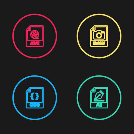 Set line CSS file document, AI, RAW and AVI icon. Vector Vector Illustration