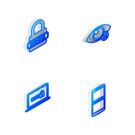 Set Isometric line Invisible or hide, Password protection, Laptop with password and Mobile and icon. Vector
