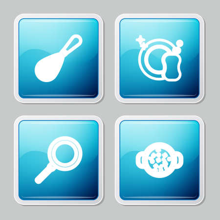 Set line Kitchen whisk, Washing dishes, Frying pan and Cooking soup pot icon. Vector