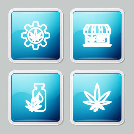 Set line Test tube with marijuana, Online buying, Marijuana or cannabis leaf oil and icon. Vector