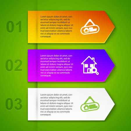 Set line Hanging sign with For Rent, Search house, Open and . Business infographic template. Vector