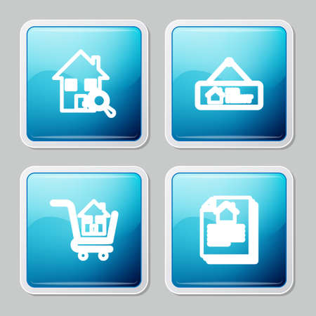Set line Search house, Hanging sign with For Rent, Shopping cart and House contract icon. Vector Vector Illustratie