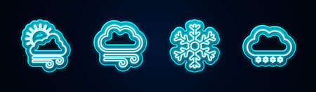 Set line Windy weather, , Snowflake and Cloud with snow. Glowing neon icon. Vector
