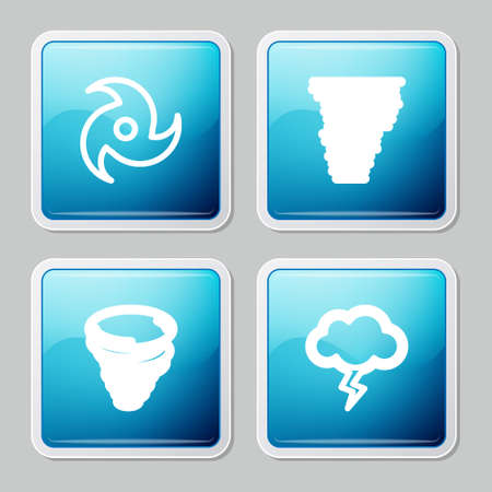 Set line Tornado, , and Storm icon. Vector