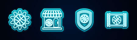 Set line Planning strategy concept, Sports shop and basketball, Shield the and Basketball game video. Glowing neon icon. Vector