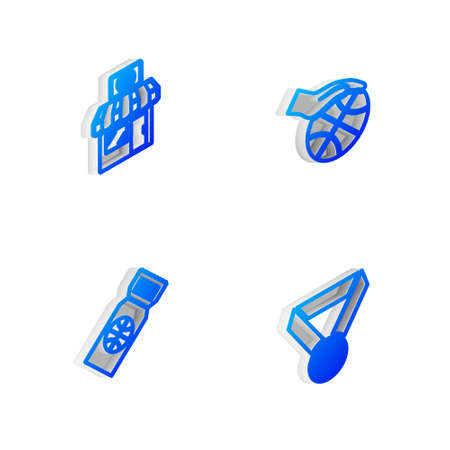 Set Isometric line Hand with basketball ball, Sports shop, Basketball game ticket and medal icon. Vector