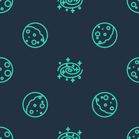Set line Milky way spiral galaxy, Eclipse of the sun and Moon on seamless pattern. Vector