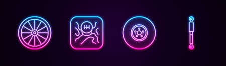 Set line Car wheel, Gear shifter, brake disk and Shock absorber. Glowing neon icon. Vector