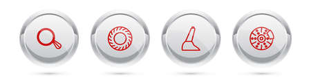 Set line Car mirror, tire, handbrake and disk with caliper. Silver circle button. Vector Illustration
