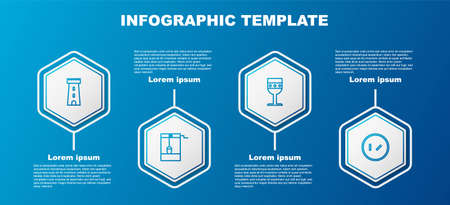 Set line Castle tower, Well with bucket, Medieval goblet and Round wooden shield. Business infographic template. Vector