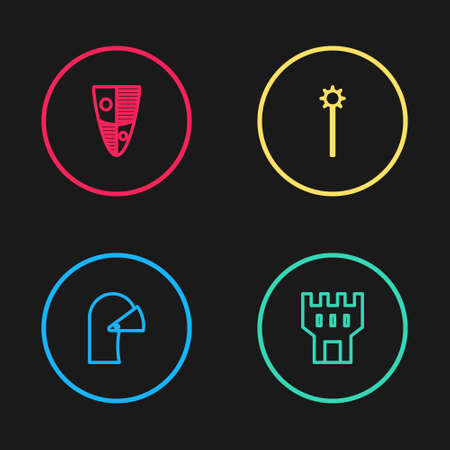 Set line Medieval iron helmet, Castle tower, chained mace ball and Shield icon. Vector